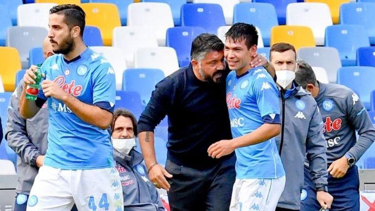 Gennaro Gattuso con Hirving Lozano durante el último encuentro