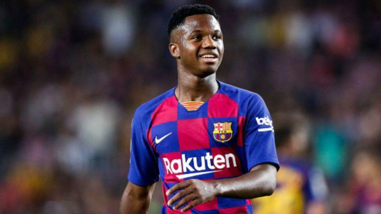 Ansu Fati en partido con Barcelona