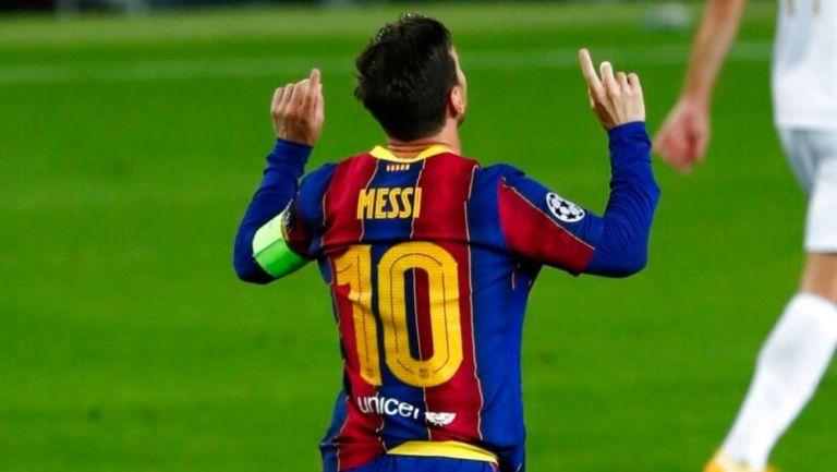 Lionel Messi luego de anotar gol con el Barcelona