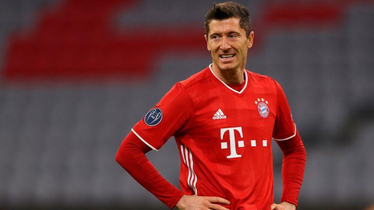 Robert Lewandowski en un partido con el Bayern Munich
