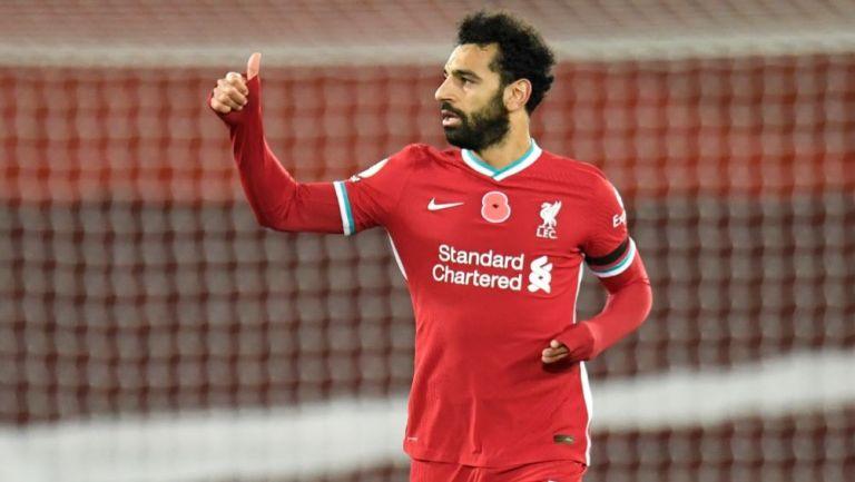 Mohamed Salah luego de marcar gol con el Liverpool