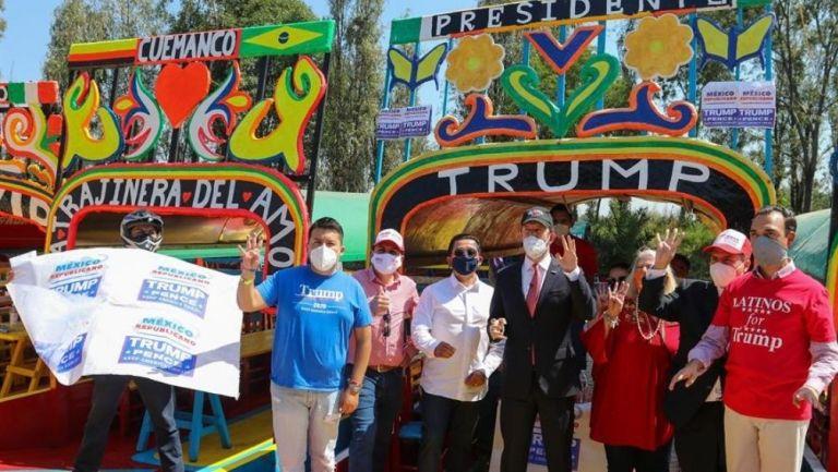 Simpatizantes de Trump en Xochimilco