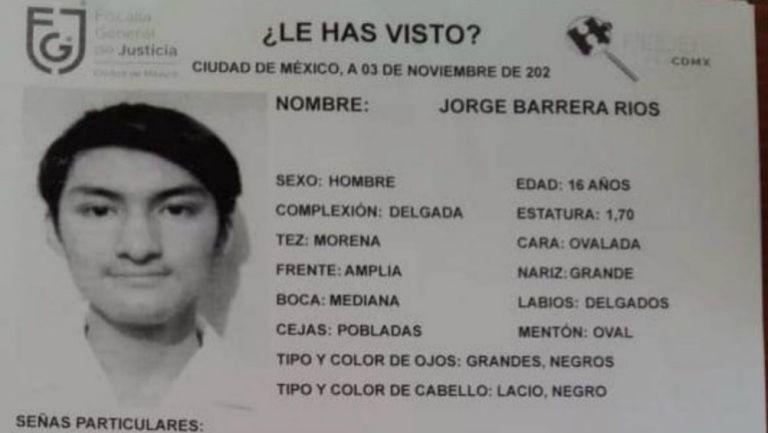 Jorge Barrera desapareció el 26 de octubre