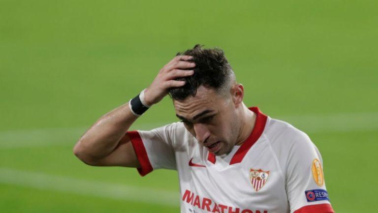 Munir El Haddadi en un partido con el Sevilla