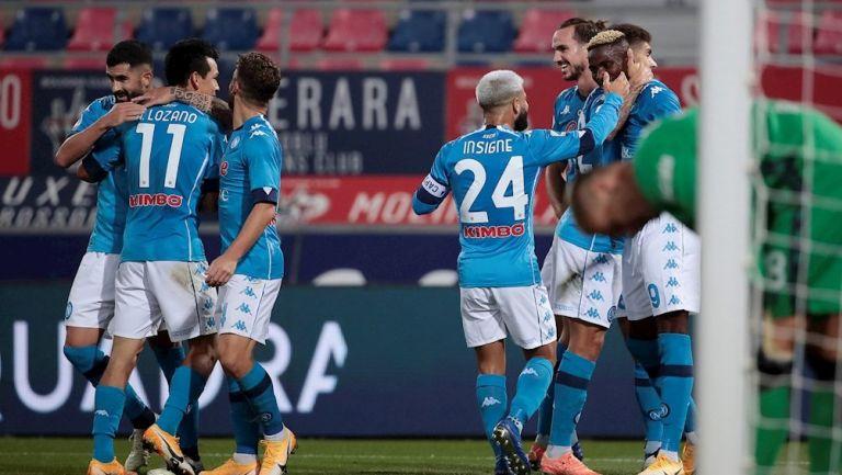 Jugadores del Napoli celebrando el gol del triunfo