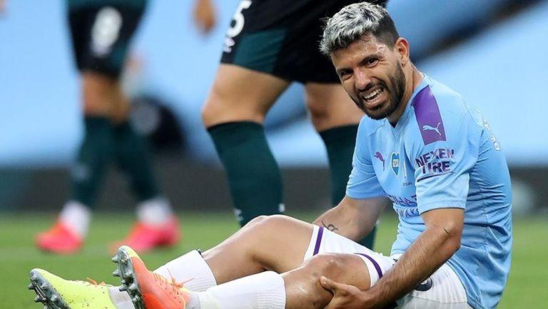 Sergio Agüero durante un partido con el Manchester City