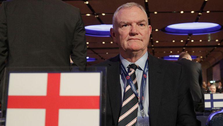 Greg Clarke, presidente de la FA, durante un evento