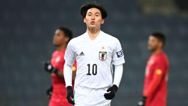 Takumi Minamino luego de anotar gol ante Panamá