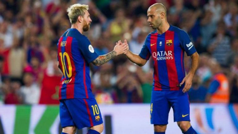 Messi junto a Mascherano en un partido del Barcelona