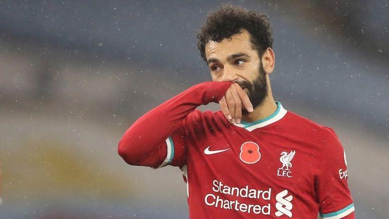 Mohamed Salah durante un partido con Liverpool