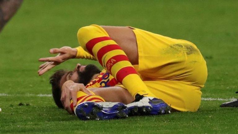 Gerard Piqué tras sufrir la lesión
