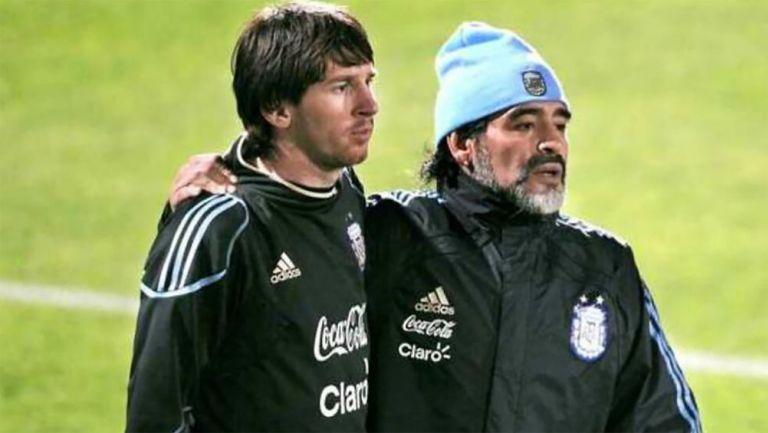 Diego Armando Maradona y Lionel Messi en la Selección Argentina