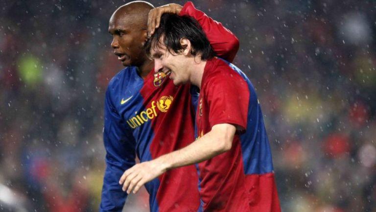 Samuel Eto'o y Lionel Messi en el Barcelona