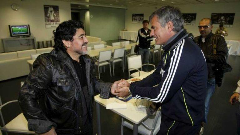 Mourinho y Maradona en Valdebebas
