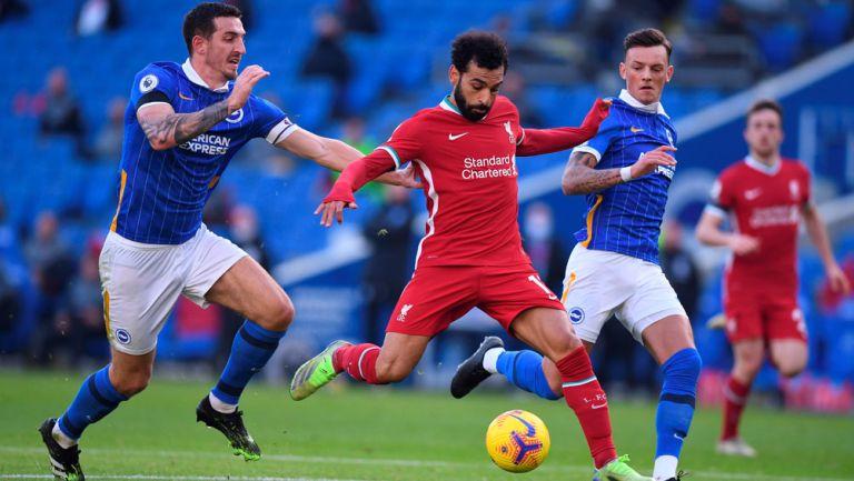 Mohamed Salah durante el duelo ante el Brighton