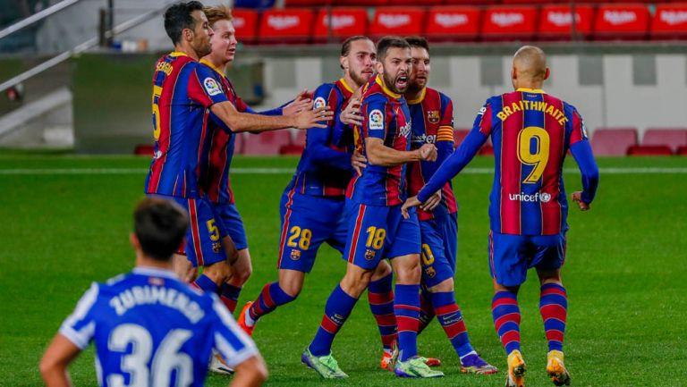 Alba festeja su gol contra la Real Sociedad