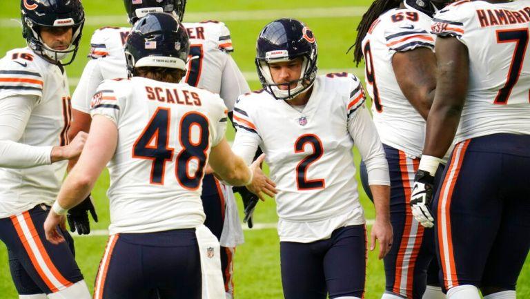 Jugadores de Bears celebran en victoria vs Vikings