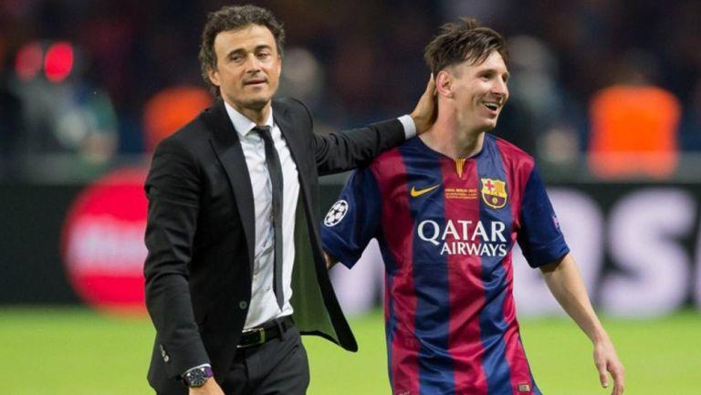 Lionel Messi y Luis Enrique tras ganar la Champions