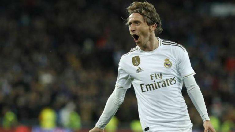 Luka Modric en festejo de gol