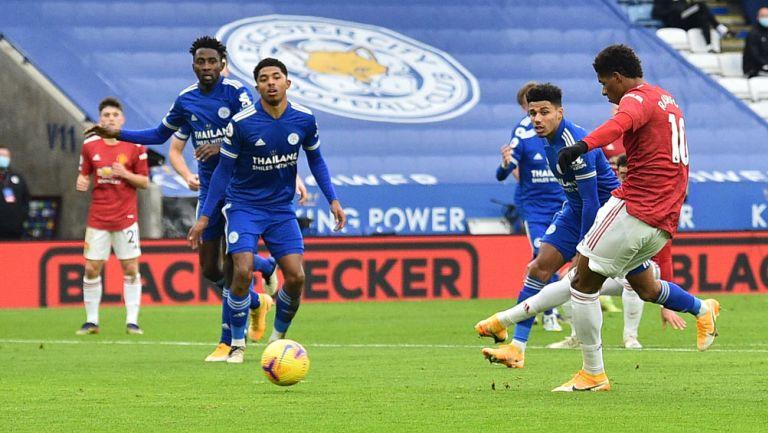 Marcus Rashford durante el duelo ante Leicester