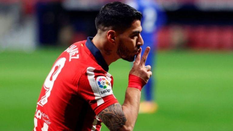 Luis Suárez festejando su gol ante el Getafe