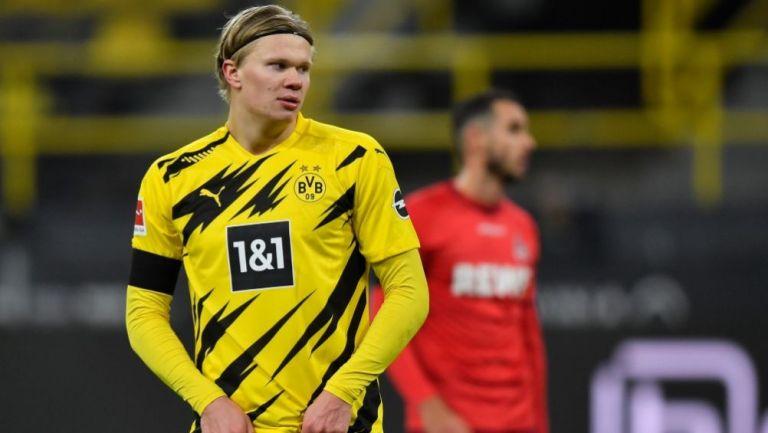 Erling Haaland en un partido con el Borussia