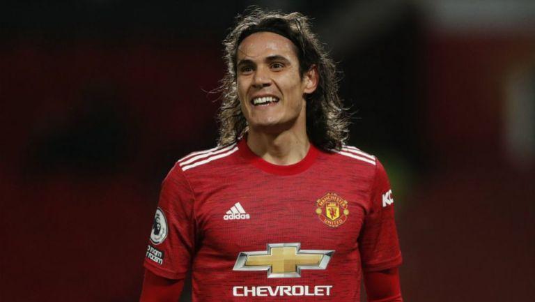 Edinson Cavani durante un partido con el United