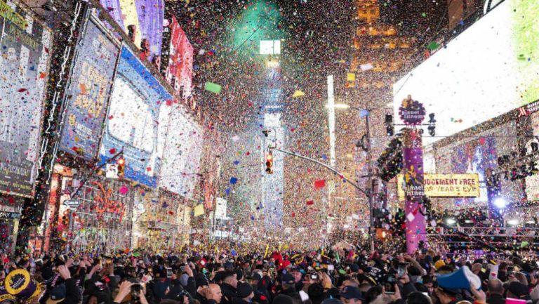 Times Square en Nueva York durante las celebraciones de año nuevo