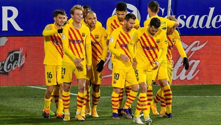 Jugadores del Barcelona celebrando un gol