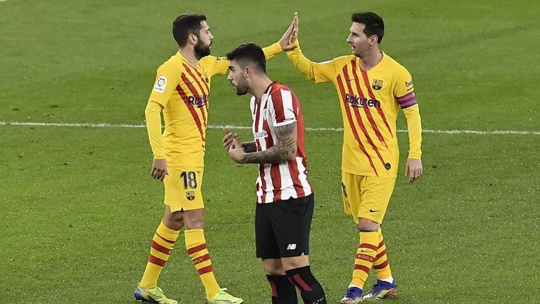 Messi festeja uno de sus goles contra Athletic