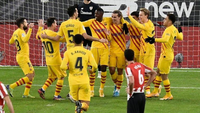 Jugadores del Barcelona festejando un gol