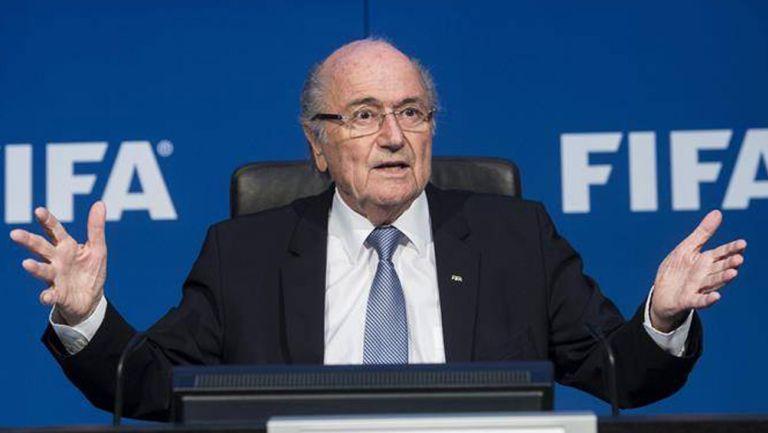 JosephBlatter durante una conferencia de la FIFA