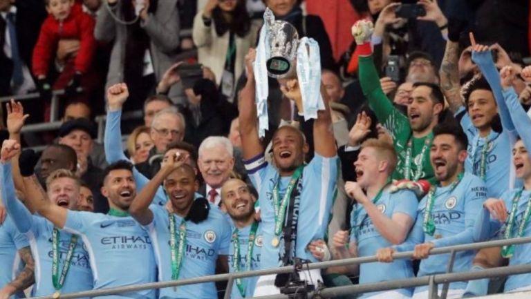 Jugadores del Manchester City campeones de la FA Cup