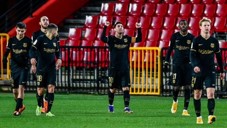 Messi celebra uno de sus goles ante Granada
