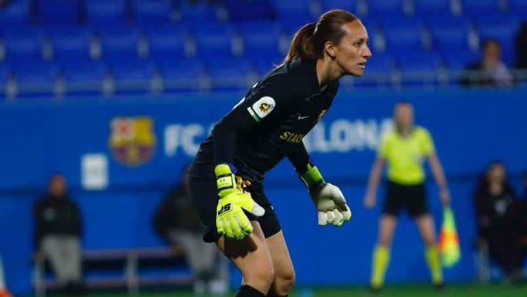 Pamela Tajonar, en su etapa como portera del Barcelona femenil