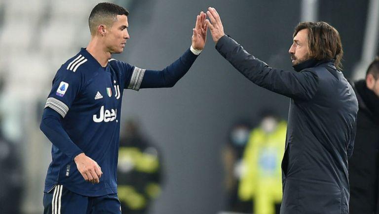 Cristiano Ronaldo y Pirlo en festejo con la Juventus