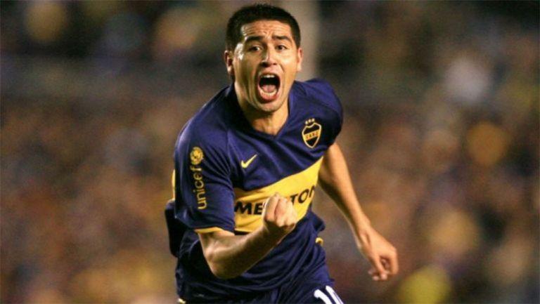 Juan Román Riquelme en festejo con Boca Juniors