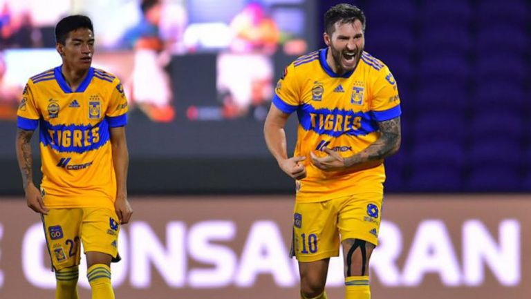 André-Pierre Gignac celebra el gol del título de la Concachampions