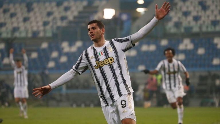 Álvaro Morata tras anotar gol con la Juventus
