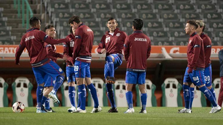 Jugadores de Cruz Azul previo al partido contra Santos