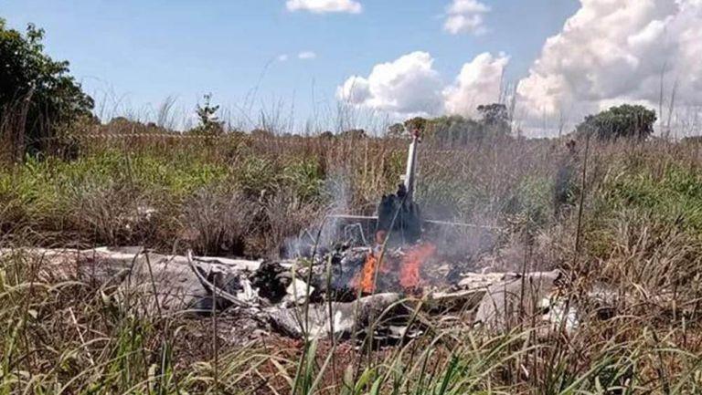 Aeronave llamas tras el mortal accidente