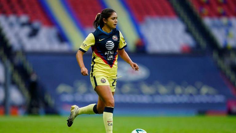 Jana Gutiérrez durante un partido con América Femenil