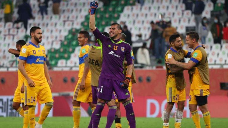 Tigres festejando su pase a la Final del Mundial de Clubes