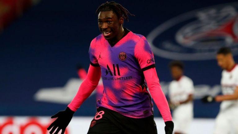 Moise Kean tras anotar el gol del triunfo para el PSG