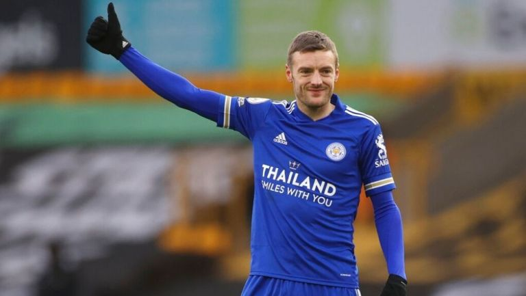 Jamie Vardy en un partido con Leicester