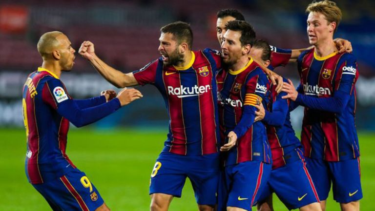 Jugadores del Barcelona festejan un gol en LaLiga