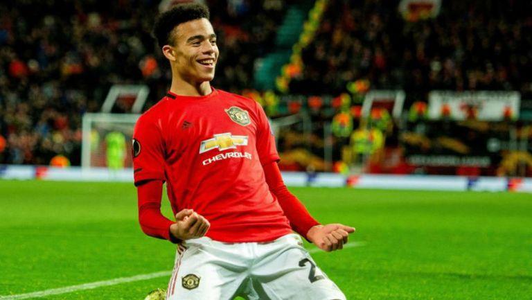 Mason Greenwood celebra un gol con el Manchester United