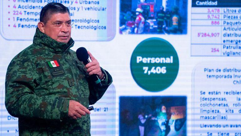 Luis Cresencio, secretario de la Defensa Nacional en conferencia