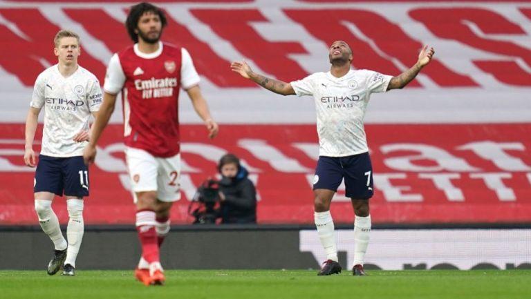 Raheem Sterling tras anotar ante el Arsenal