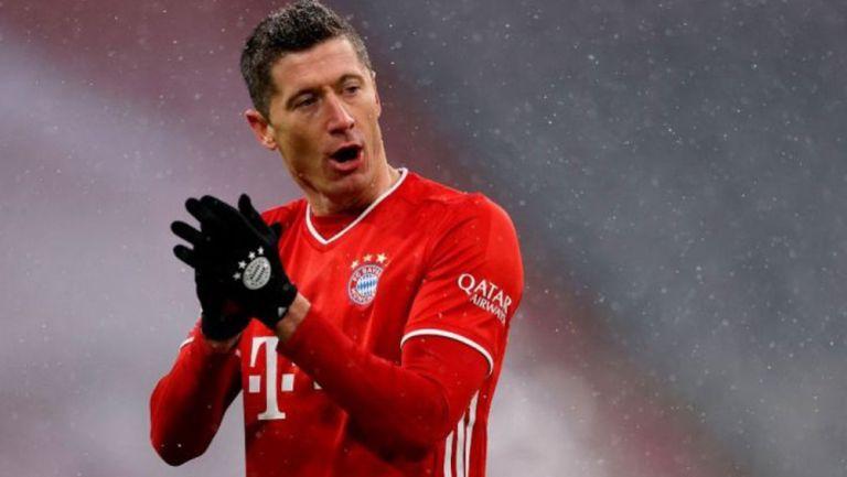 Lewandowski en festejo con el Bayern Munich